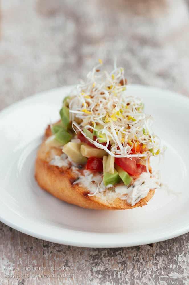 Stock photo of Tomato and Avocado Salsa Bruschetta