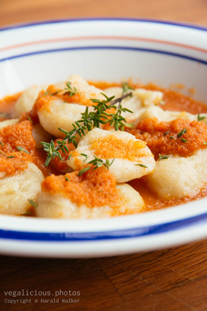 Stock photo of Celery Root Gnocchi with Apple Carrot Sauce