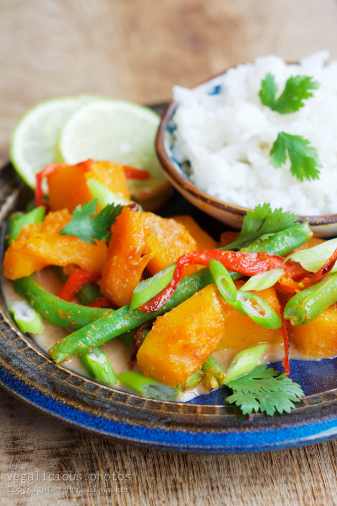 Stock photo of Thai Curried Pumpkin and Green Beans