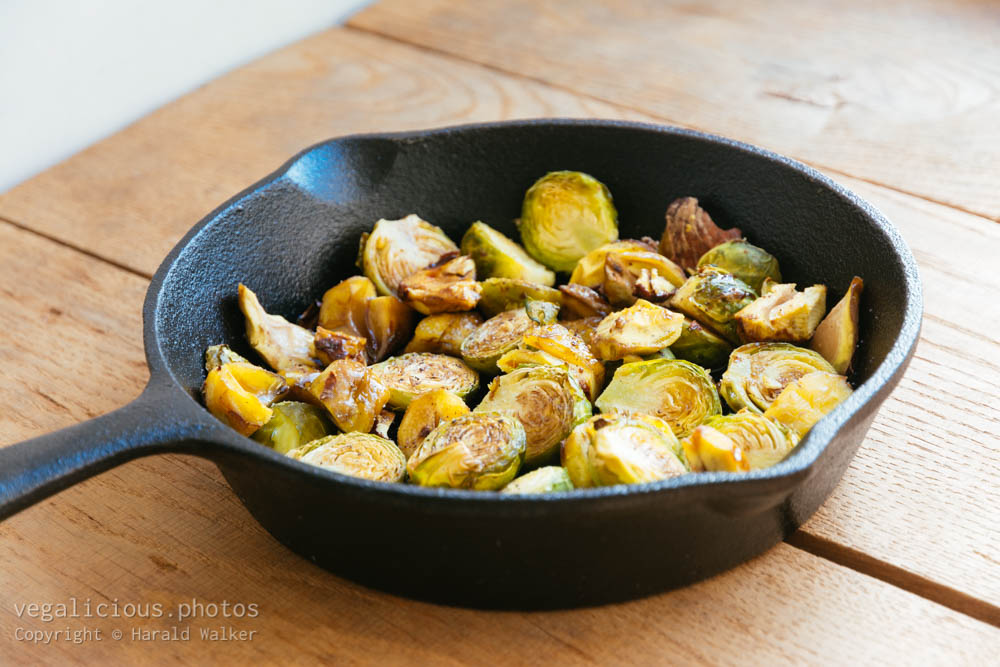 Stock photo of Roasted Brussels sprouts and chestnuts
