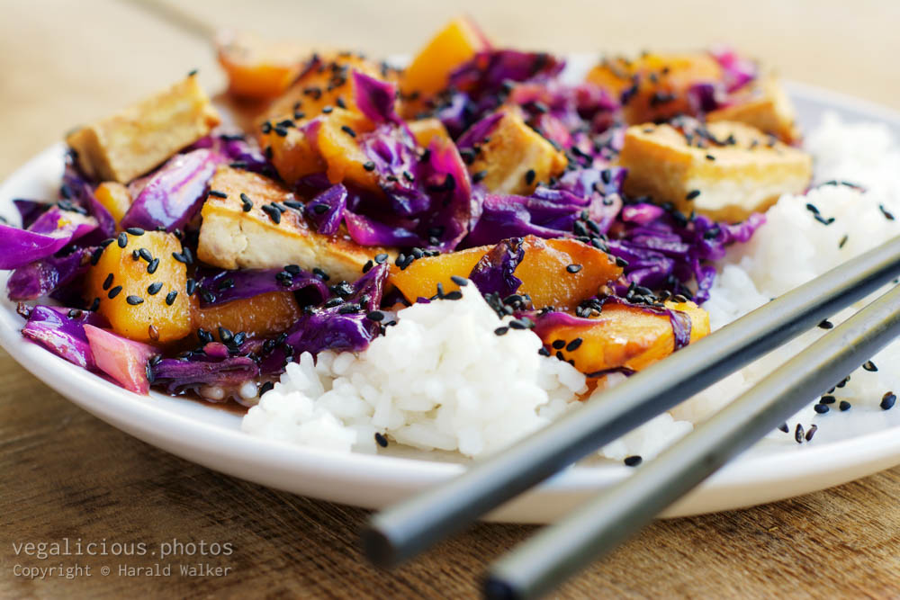 Stock photo of Stir Fried Tofu, Red Cabbage and Winter Squash