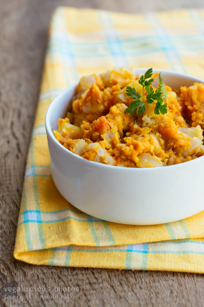 Stock photo of Sweet potato parsnip mash