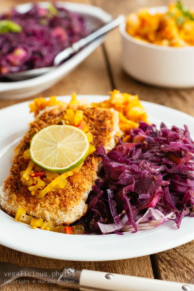 Stock photo of Tempeh fillets and Braised Red Cabbage Fennel