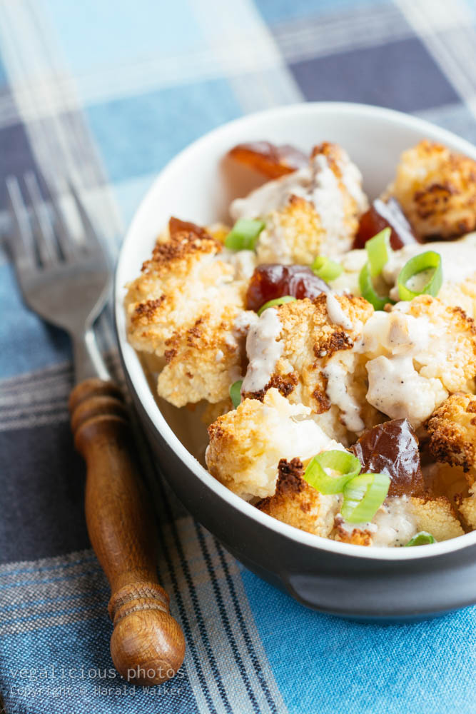 Stock photo of Roasted Cauliflower with Dates and Tahini Dressing