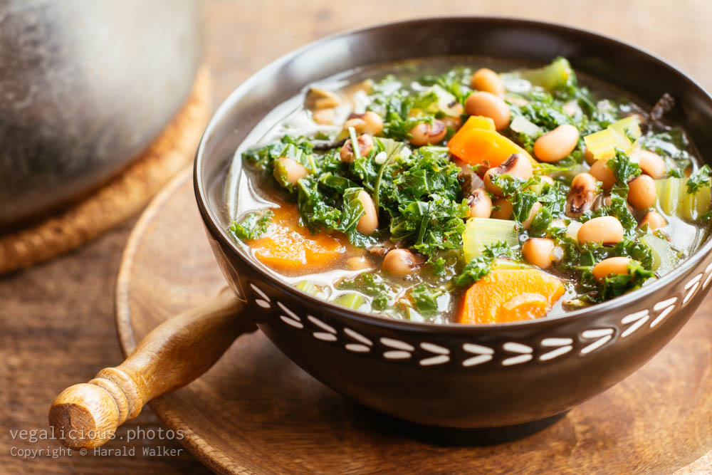 Stock photo of Black-eyed Peas and Kale Soup