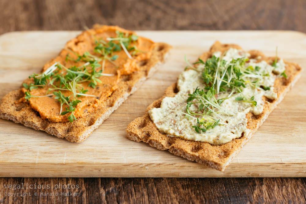 Stock photo of Crispbread with bread spreads