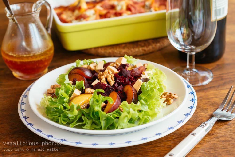 Stock photo of Beet, Plum and Walnut Salad