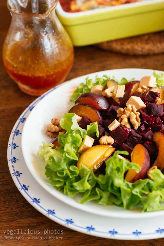 Stock photo of Beet, Plum and Walnut Salad