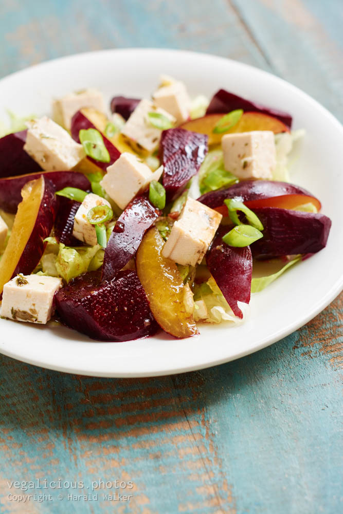 Stock photo of Beets with plums and tofu