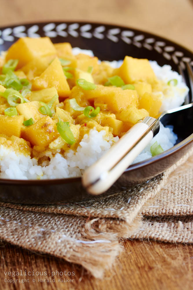 Stock photo of Curried Rutabaga and Apple on Rice