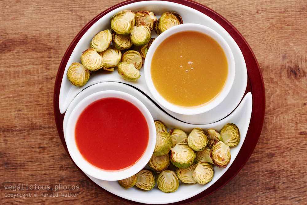 Stock photo of Roasted Brussels Sprouts with 2 Dips