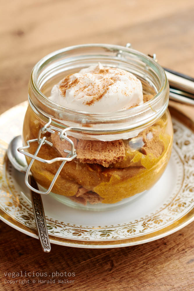 Stock photo of Pumpkin Pie in a Jar with Ginger Snaps