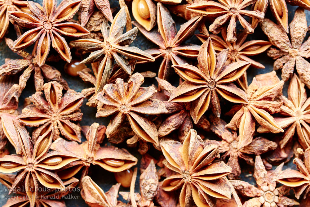 Stock photo of Star anise fruits and seeds