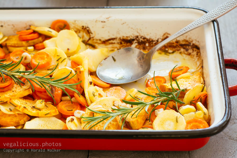 Stock photo of Roasted Parsnips, Carrots and Sweet Potatoes