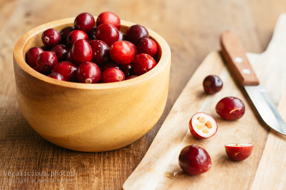 Stock photo of Preparing cranberries