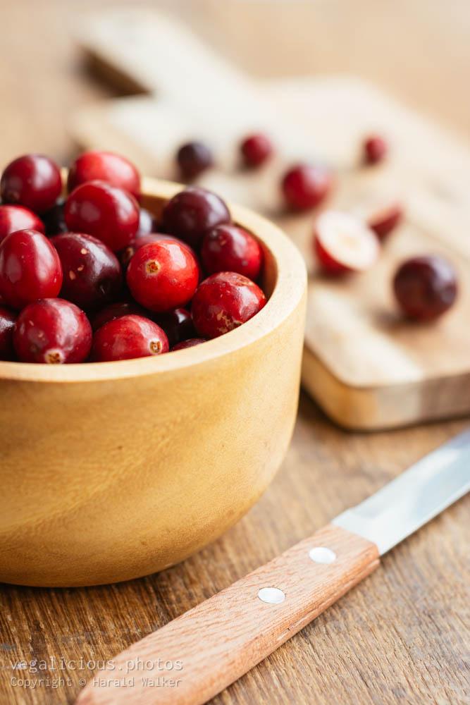 Stock photo of Preparing cranberries