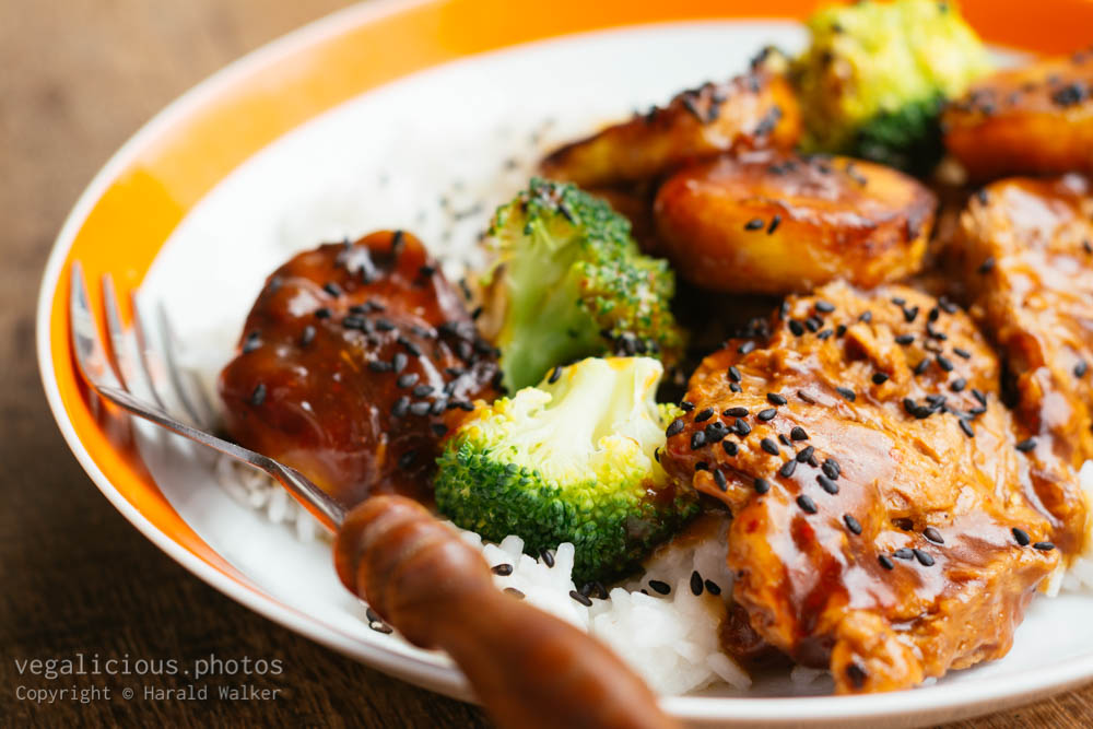 Stock photo of Broccoli, Plantain Stir-fry with TVP Medalions