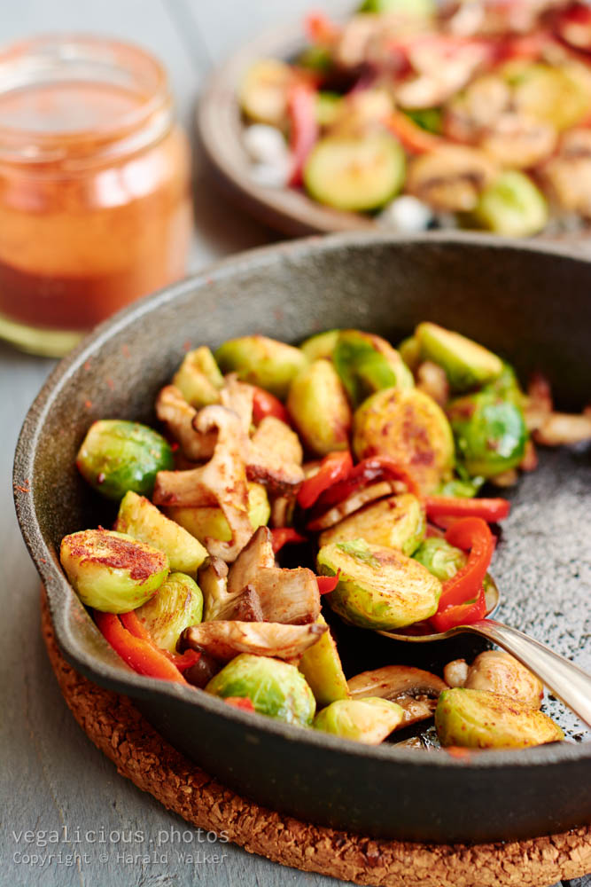 Stock photo of Brussels Sprouts, Mushrooms and Paprikas on Rice