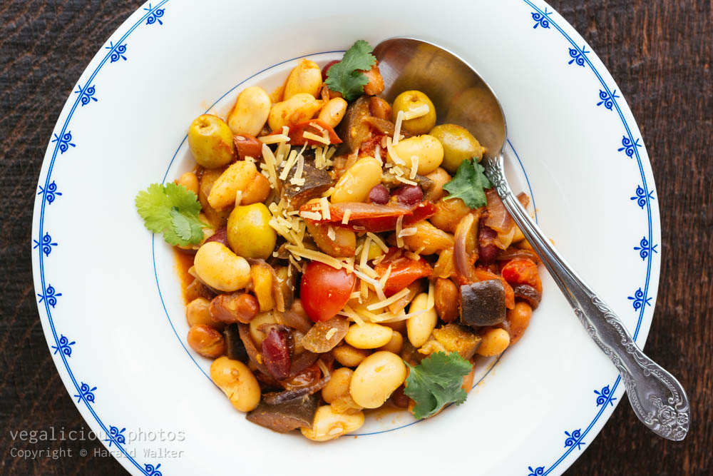 Stock photo of Mixed Bean Bowl with Eggplant and Green Olives