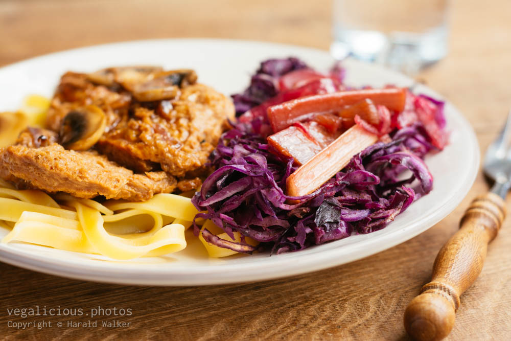 Stock photo of TVP Medallions and Red Cabbage with Rhubarb Sauce
