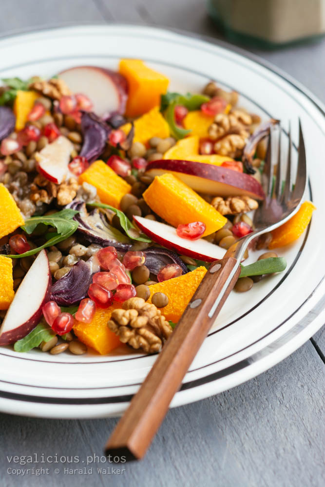 Stock photo of Warm Fall Salad with Walnut Maple Dressing