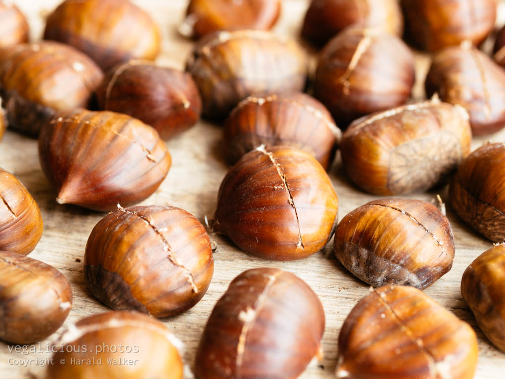 Stock photo of Scored chestnuts