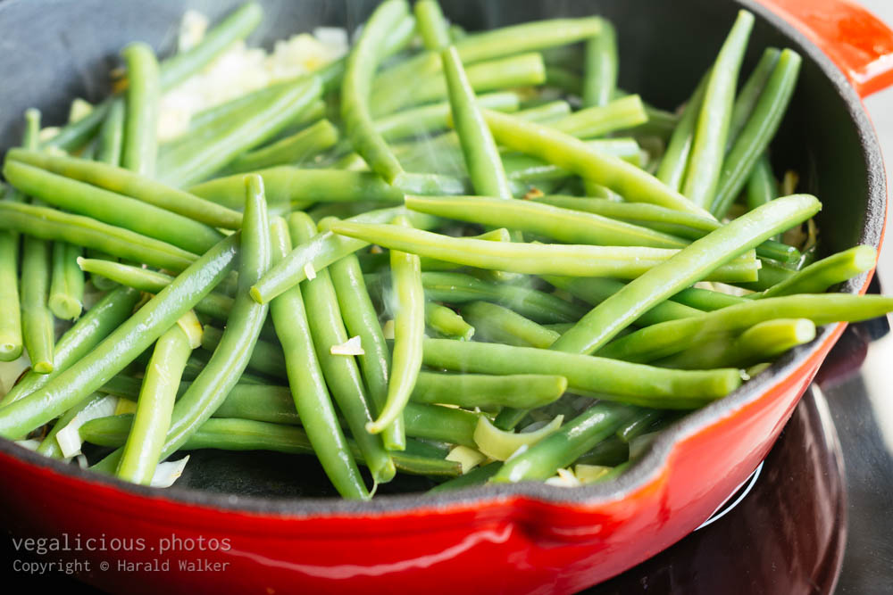 Stock photo of Frying green beans