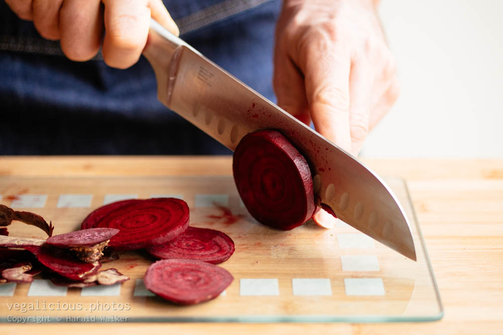 Stock photo of Cutting red beets