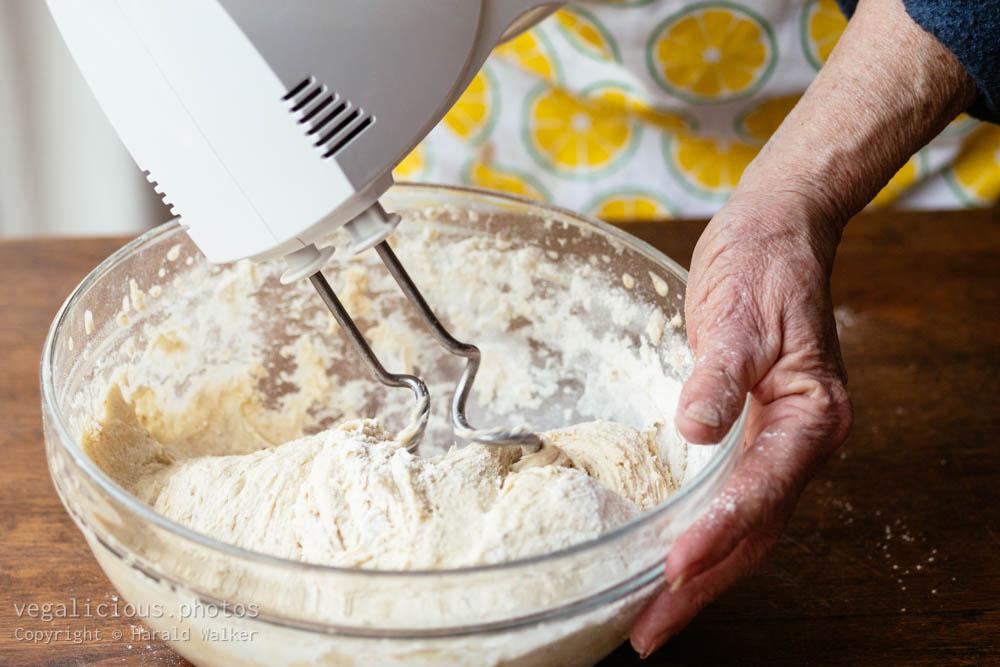 Stock photo of Kneading bread dough