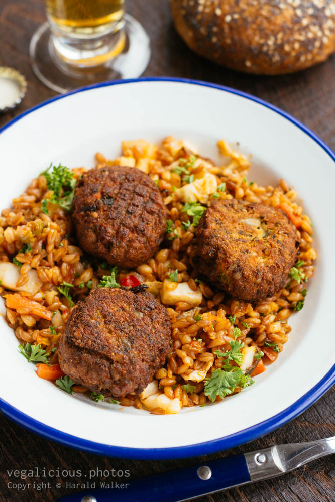 Stock photo of Emmer risotto with Cabbage and Quinoa Patties