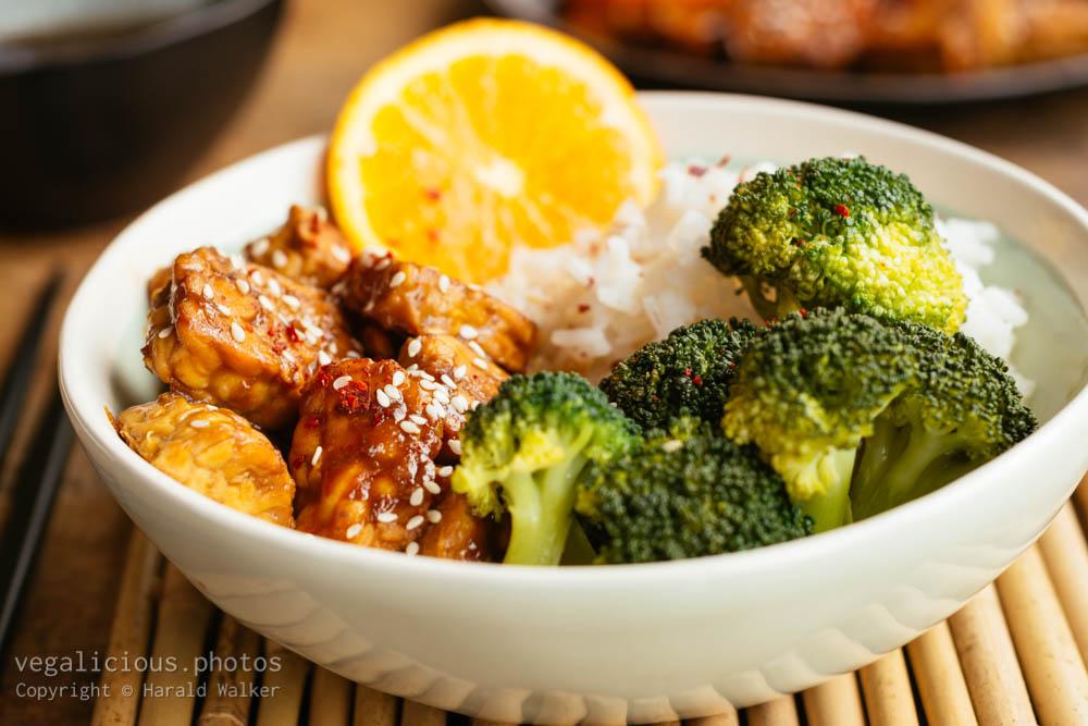 Stock photo of Orange Glazed Tempeh with Broccoli and White Rice