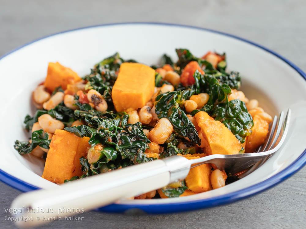 Stock photo of Black-eyed Peas, Sweet Potatoes and Kale