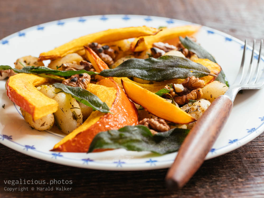 Stock photo of Gnocchi with Winter Squash and Walnuts