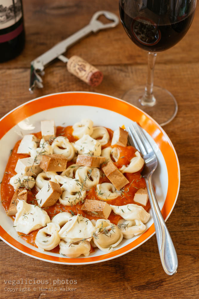 Stock photo of Tortellini with Pumpkin Sauce, Ricotta and Tofu