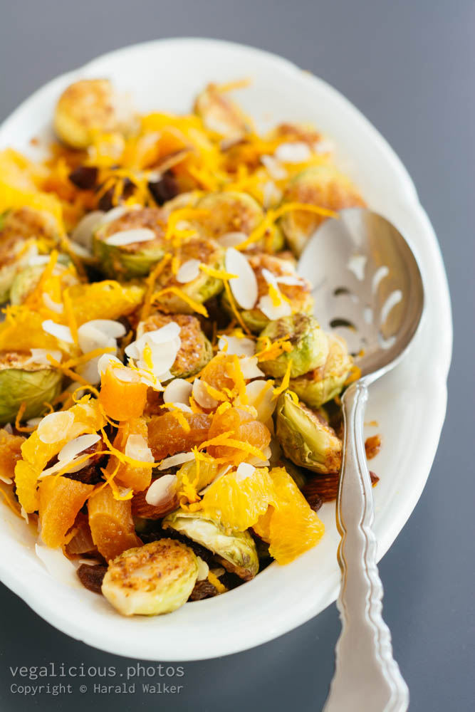 Stock photo of Roasted Brussels Sprouts with Maple Mustard Sauce, Apricots, Raisins, Almonds and Oranges