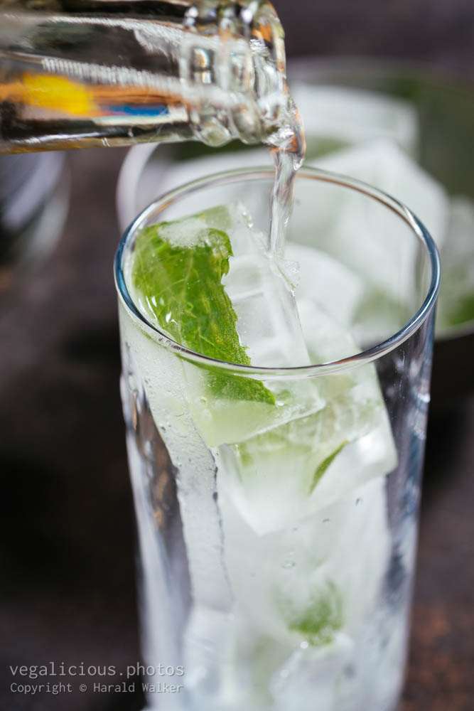 Stock photo of Making minty gin tonic