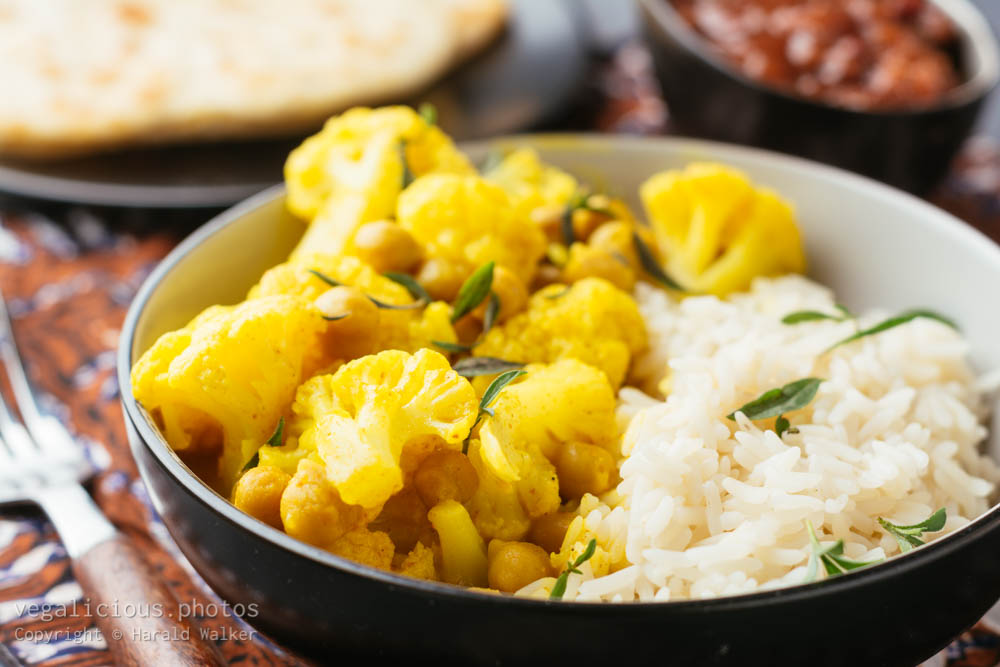 Stock photo of Curried Cauliflower and Chickpeas, Chapati and Chutney