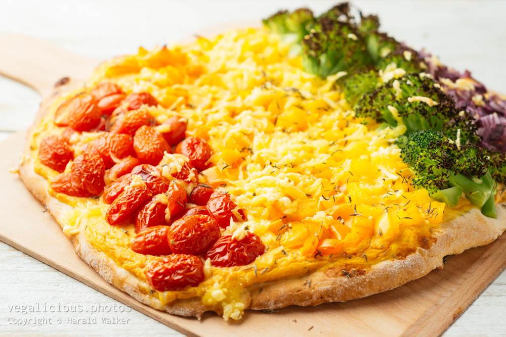 Stock photo of Vegan Rainbow Pizza