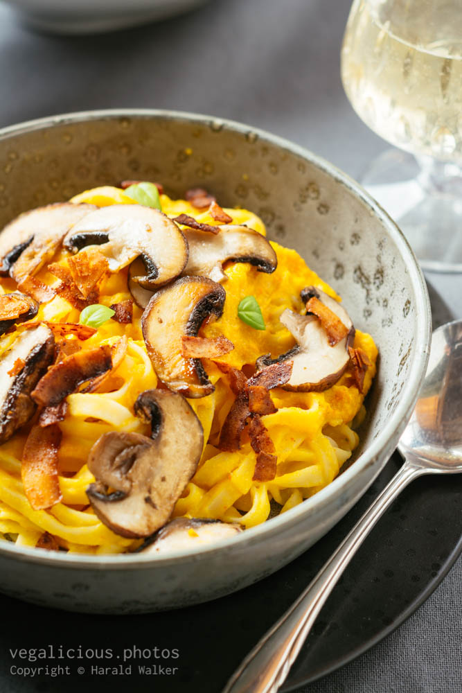 Stock photo of Pumpkin Alfredo with Mushrooms and Coconut Bacon