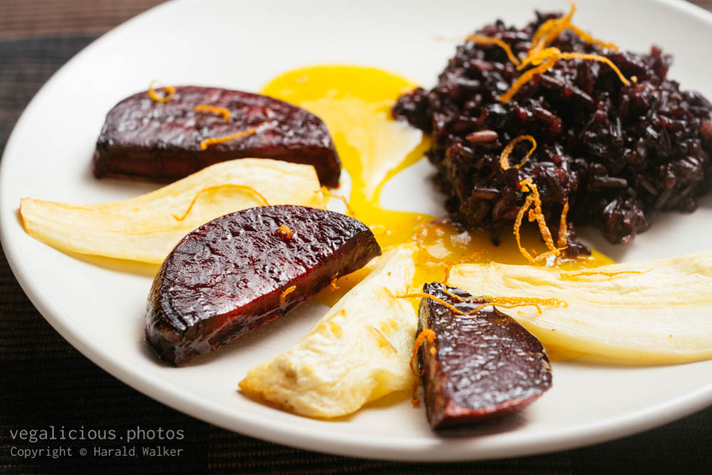 Stock photo of Purple Forbidden Rice with Roasted Parsnips and Beets with Orange Sauce