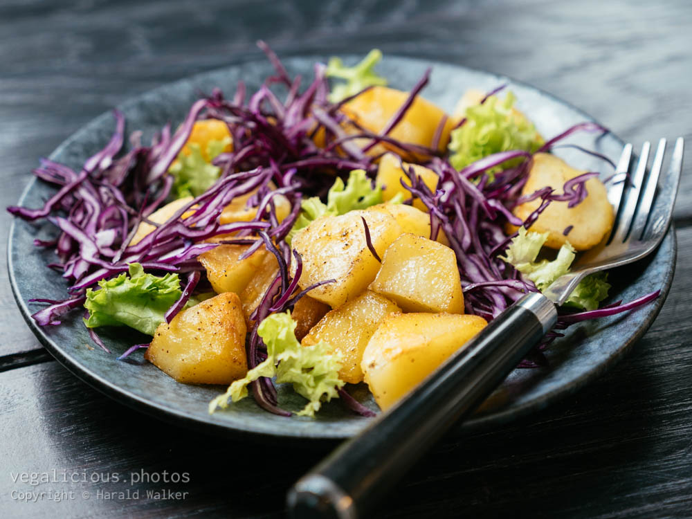 Stock photo of Warm Potato Salad with Red Cabbage