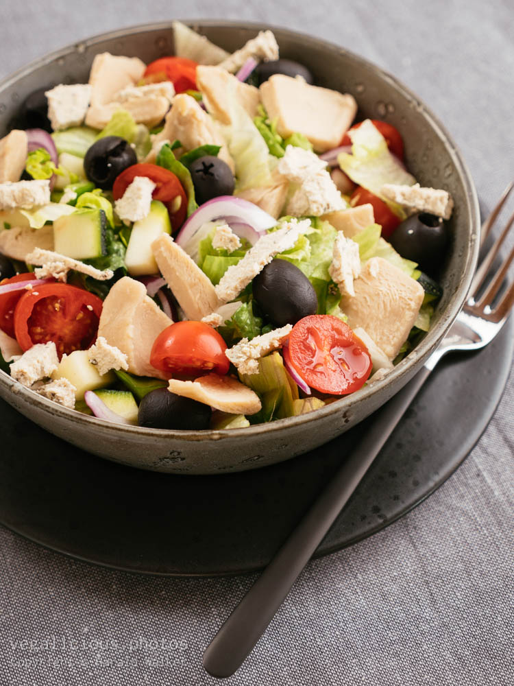 Stock photo of Vegan Greek Chickun Salad
