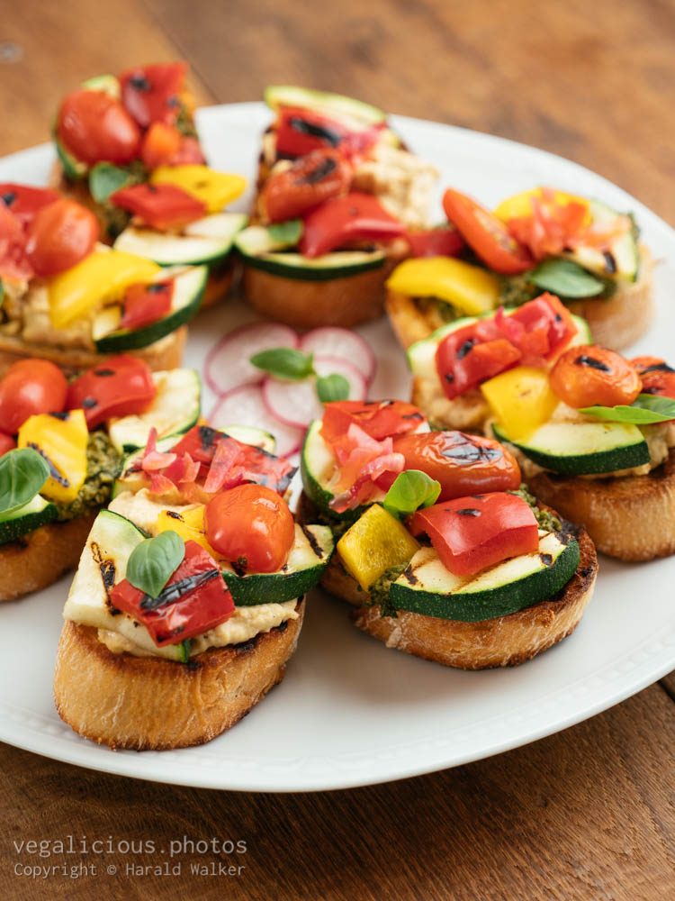 Stock photo of Grilled Veggetable Bruschetta with Hummus and Pesto