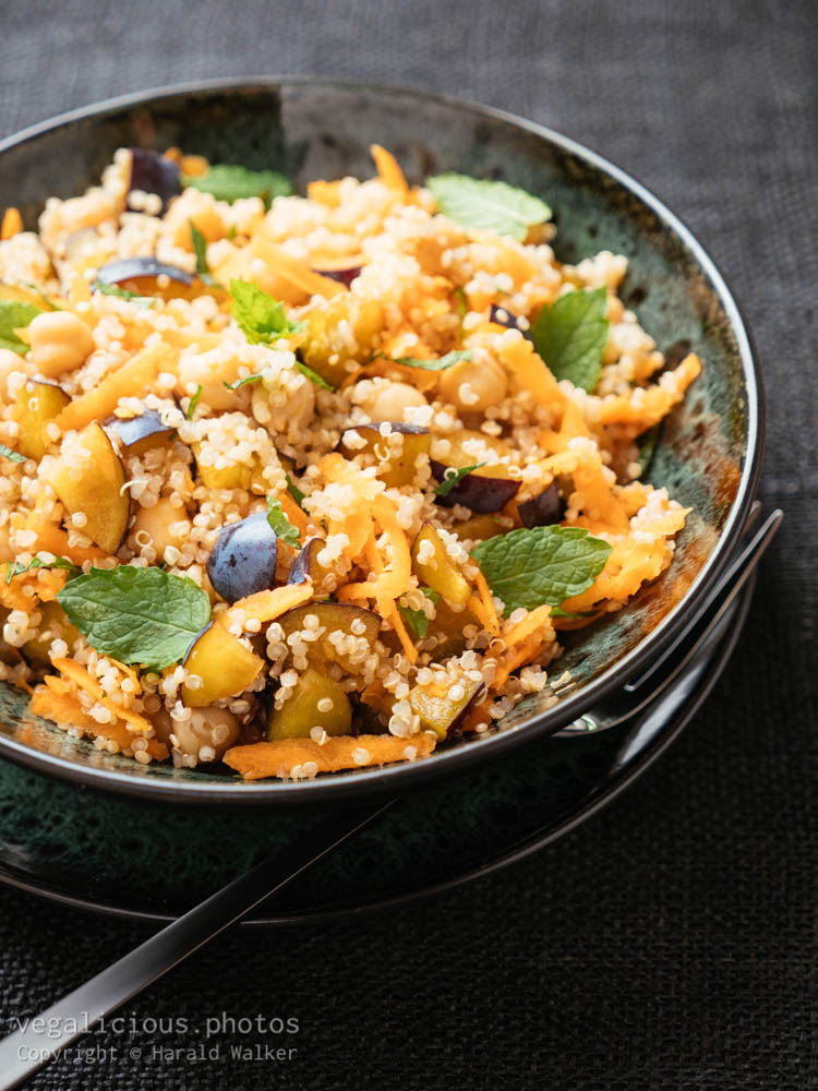 Stock photo of Moroccan Carrot, Chickpea, Quinoa Salad with Plums