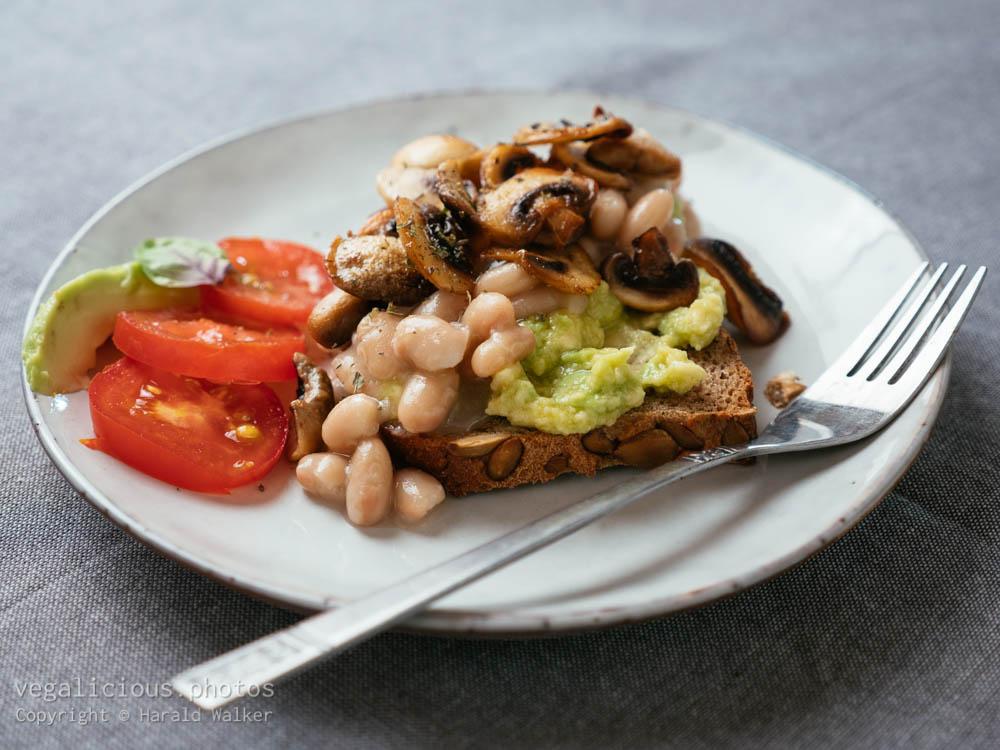 Stock photo of Avocado Toast with White Beasn and Mushrooms