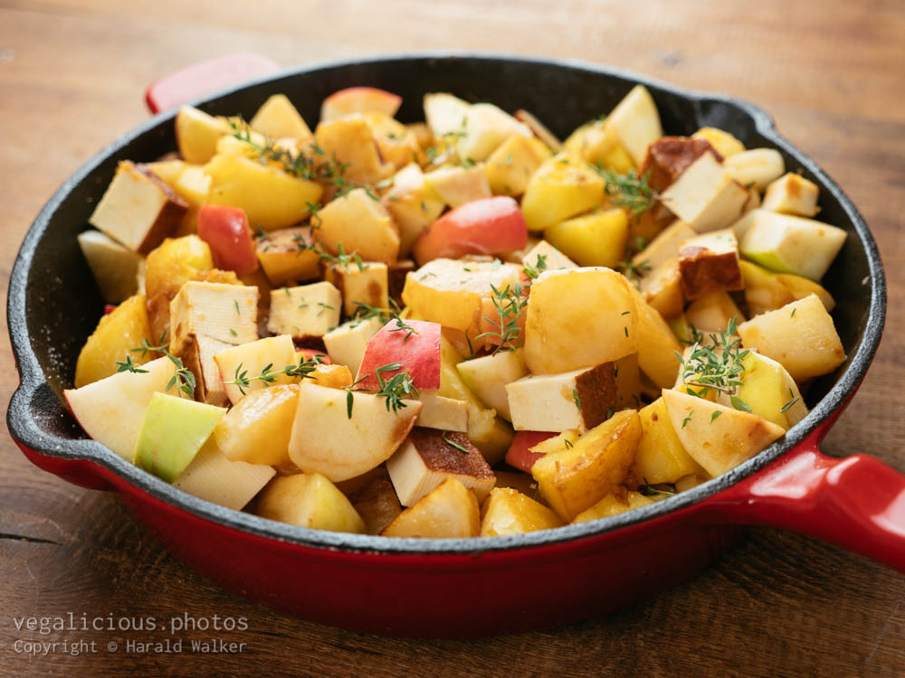 Stock photo of Braised Apples, Turnips and Potatoes with Smokey Tofu Pieces