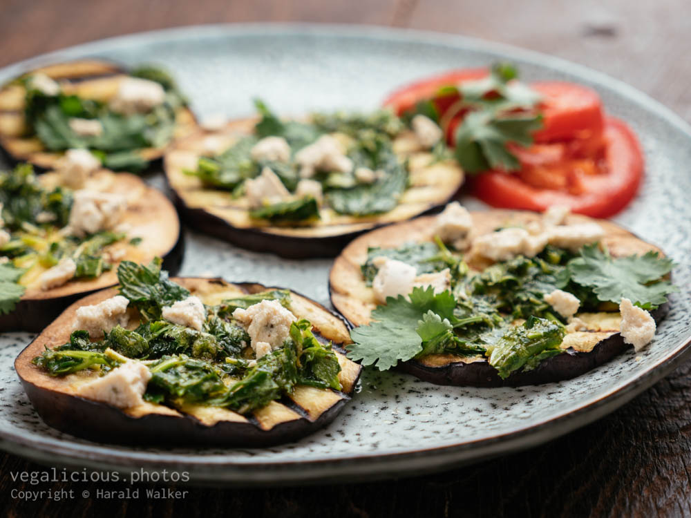 Stock photo of Grilled Eggplant with Herbs and Vegan Feta