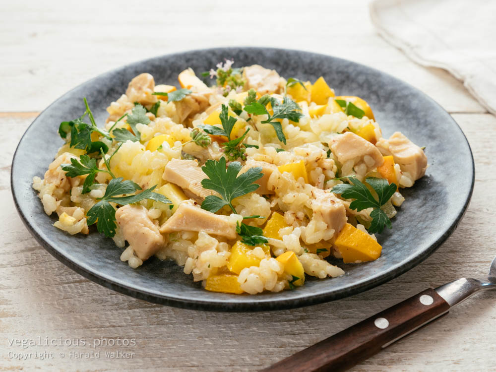 """Stock photo of Risotto with """"Chickun"""" Golden Summer Squash and Yellow Bell Pepper"""