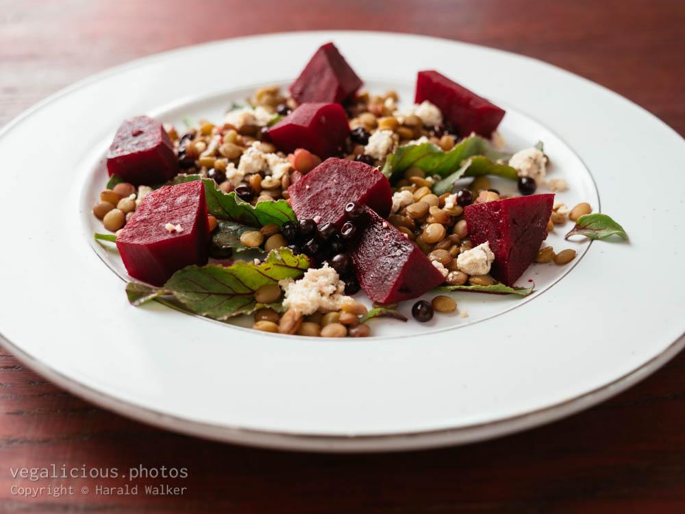 Stock photo of Lentil, Beet Salad with Vegan Feta