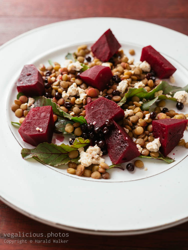 Stock photo of Lentil, Beet Salad with Vegan Feta